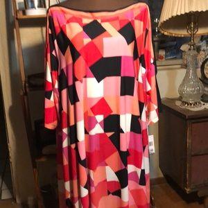 Sandra Darren geometric print dress SZ 24W